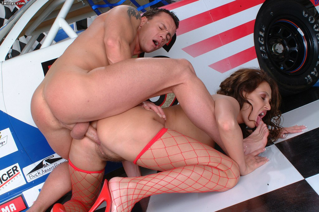 Mandy Bright In Red Fishnet Stockings Gets Fucked 10